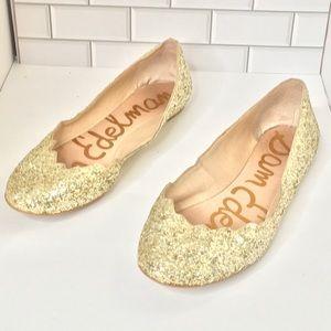 Sam Edelman glittery gold ballet flats 7.5